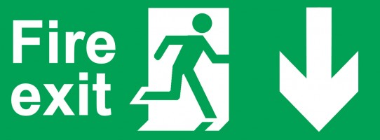 Man running through fire exit
