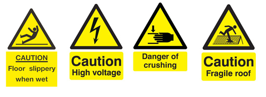 4 types of health and safety hazard signs