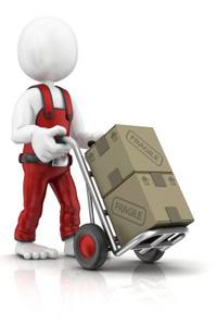 Cartoon man pushing boxes